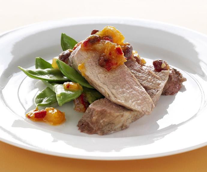 roasted pork fillet with relish