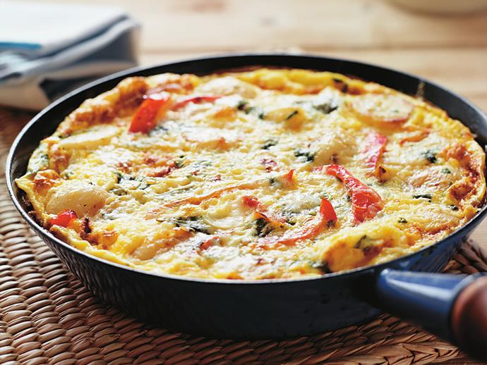 "**[Capsicum and potato frittata](https://www.womensweeklyfood.com.au/recipes/capsicum-and-potato-frittata-8750|target=""_blank"")**"