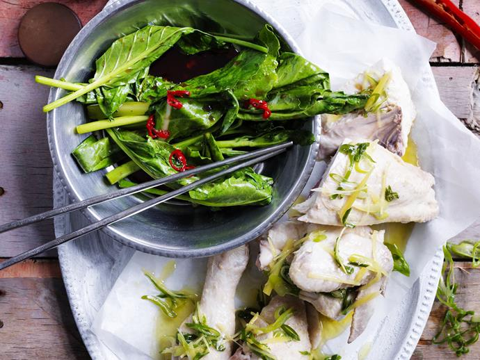"""**[White cooked chicken with ginger rice](https://www.womensweeklyfood.com.au/recipes/white-cooked-chicken-with-ginger-rice-8757 target=""""_blank"""")**  Don't let the cook time dishearten you, this dish is very simple to prepare, and the flavours are well worth the wait!"""