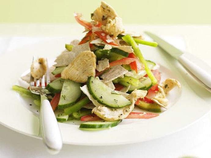 "**[Chicken and cucumber salad](https://www.womensweeklyfood.com.au/recipes/chicken-and-cucumber-salad-8766|target=""_blank"")**"