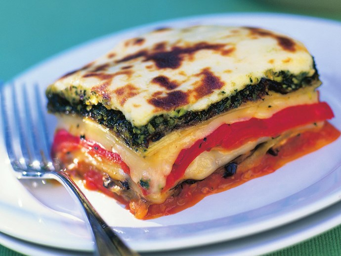 pistachio pesto with eggplant lasagne