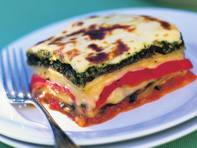 "**[Pistachio pesto with eggplant lasagne](https://www.womensweeklyfood.com.au/recipes/pistachio-pesto-with-eggplant-lasagne-3559|target=""_blank"")**"