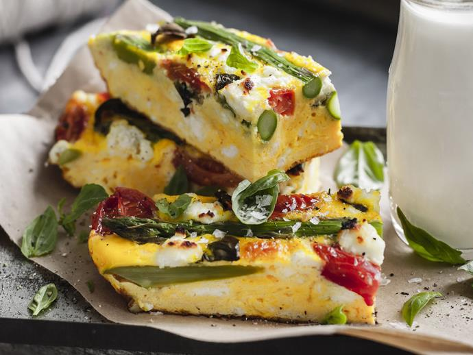 "**[Asparagus, tomato, ricotta and basil frittata](https://www.womensweeklyfood.com.au/recipes/asparagus-tomato-ricotta-and-basil-frittata-8773|target=""_blank"")**  This colourful, veggie-packed frittata is delicious hot or cold at any time of the day."