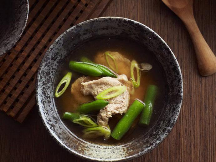 "**[Pork and green bean miso soup](https://www.womensweeklyfood.com.au/recipes/pork-and-green-bean-miso-soup-8778|target=""_blank"")**  Fermenting soybeans with salt and a particular fungus knows as kōji results in this traditional Japanese soup known as miso. It provides a base with an incredible depth of flavour for soups such as this one."