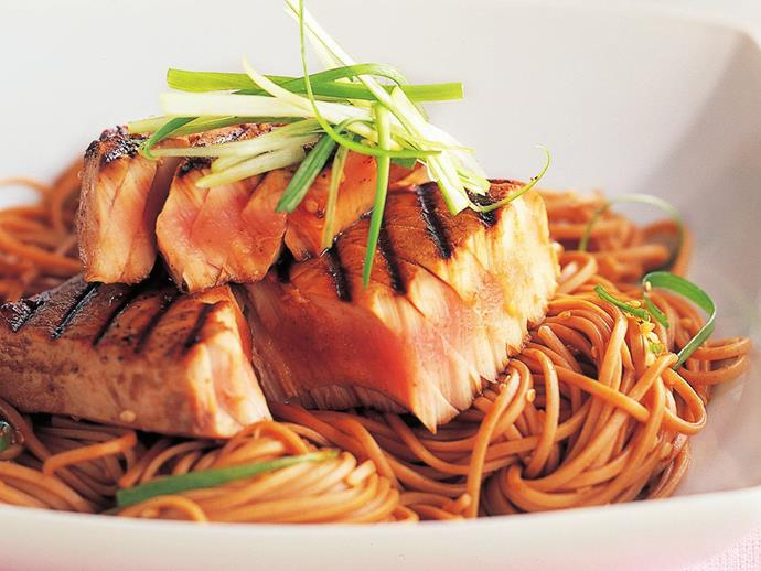 "**[Char-grilled tuna with soba noodles](https://www.womensweeklyfood.com.au/recipes/char-grilled-tuna-with-soba-noodles-8797|target=""_blank"")**"