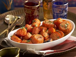 Honey-spiced carrots and kumara