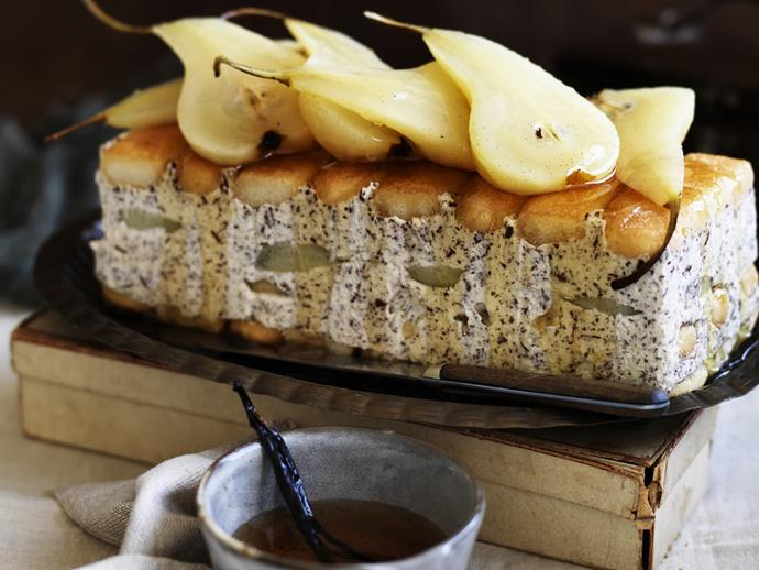 "**[Poached pear, mascarpone and dessert wine cake](https://www.womensweeklyfood.com.au/recipes/poached-pear-mascarpone-and-dessert-wine-cake-3592|target=""_blank"")**"