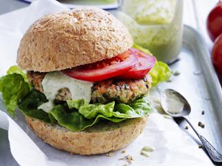 salmon and zucchini burgers with green hummus