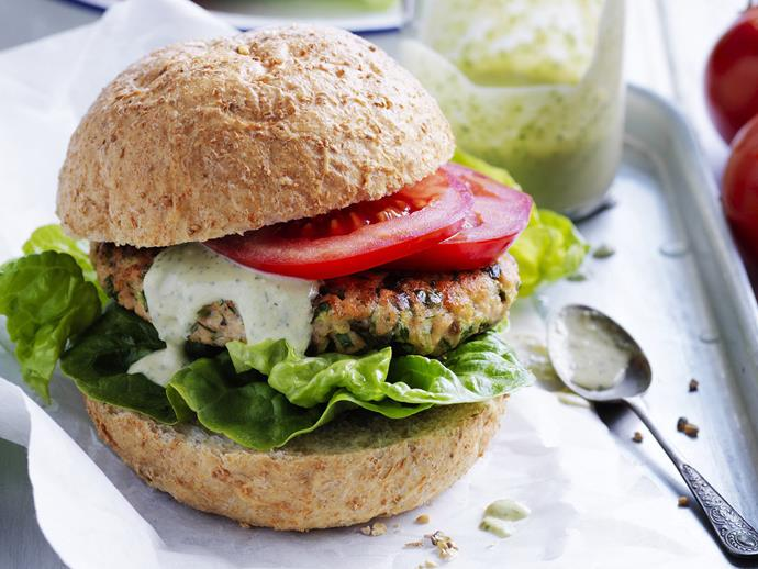 "**[Salmon and zucchini burgers with green hummus](https://www.womensweeklyfood.com.au/recipes/salmon-and-zucchini-burgers-with-green-hummus-3278|target=""_blank"")**"