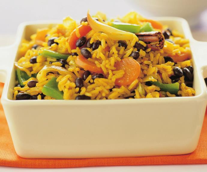 black bean, rice and vegetable pilaf