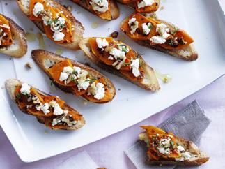 roast pumpkin and fetta bruschetta