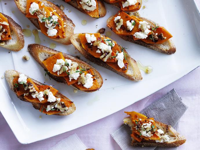 "**[Roast pumpkin and fetta bruschetta](https://www.womensweeklyfood.com.au/recipes/roast-pumpkin-and-fetta-bruschetta-3287|target=""_blank"")**"