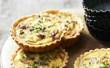 Onion and smoked cheddar tarts