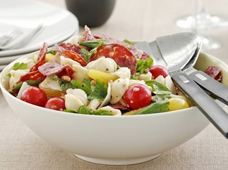 warm salami and tomato pasta salad