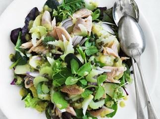 warm potato and smoked trout salad