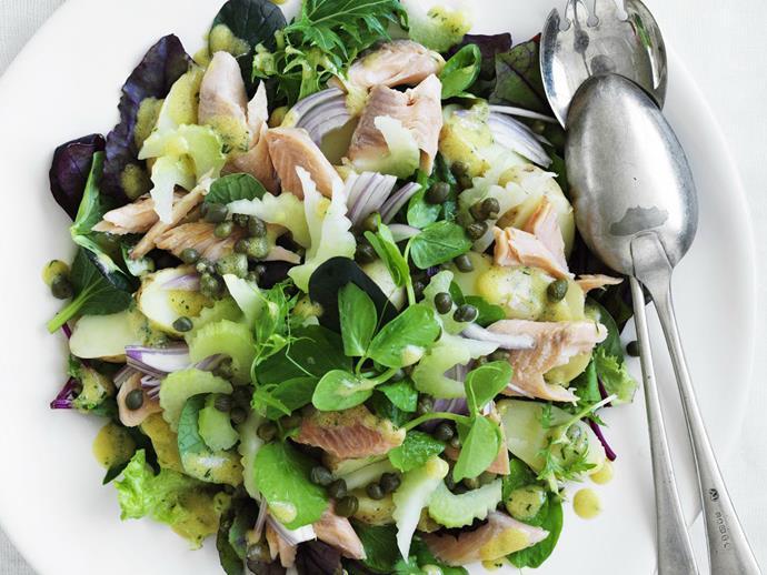 "**[Warm potato and smoked trout salad](https://www.womensweeklyfood.com.au/recipes/warm-potato-and-smoked-trout-salad-8897|target=""_blank"")**"