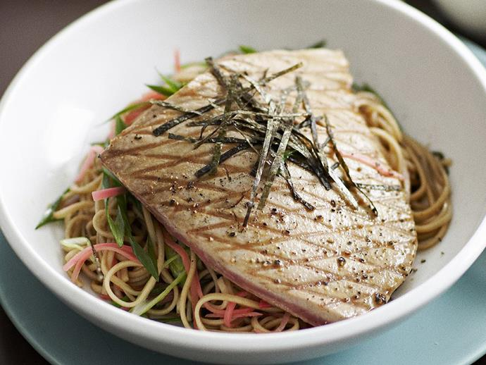 "**[Grilled tuna with chilled soba salad](https://www.womensweeklyfood.com.au/recipes/grilled-tuna-with-chilled-soba-salad-8935|target=""_blank"")**  Japanese flavours permeate this dish, from the soy mirin dressing to the crispy nori shreds on top of the grilled tuna."