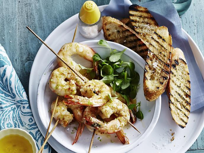 "**Grilled prawns with lemongrass & lime** <br><br> Tasty, spiced prawn skewers make a fabulous lunch with salad and char-grilled bread on the side. <br><br> [**Read the full recipe here**](https://www.womensweeklyfood.com.au/recipes/grilled-prawns-with-lemongrass-and-lime-8374|target=""_blank"")"