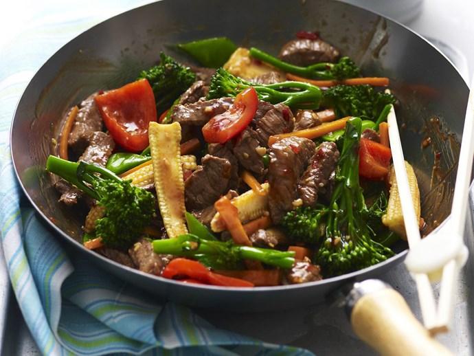"[Garlic beef stir fry.](http://www.foodtolove.com.au/recipes/garlic-beef-stir-fry-25430|target=""_blank"")"