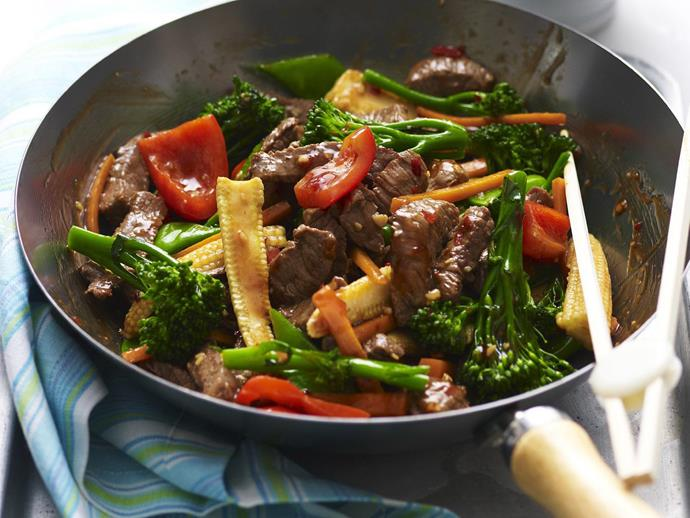 "[Garlic beef stir fry.](https://www.womensweeklyfood.com.au/recipes/garlic-beef-stir-fry-8400|target=""_blank"")"