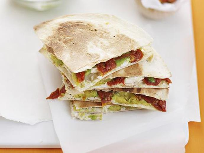 "These [chicken and avocado quesadillas](https://www.womensweeklyfood.com.au/recipes/chicken-quesadillas-8408|target=""_blank"") will be gobbled up by both the kids and adults."