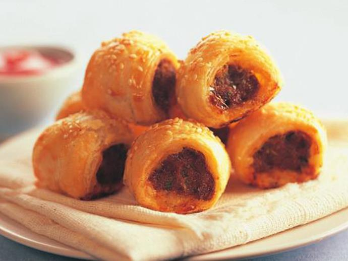 "**[Sausage rolls](https://www.womensweeklyfood.com.au/recipes/sausage-rolls-8438|target=""_blank"")**"