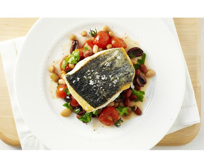 """**[Mediterranean white fish with beans and olives](https://www.womensweeklyfood.com.au/recipes/mediterranean-white-fish-with-beans-and-olives-8446