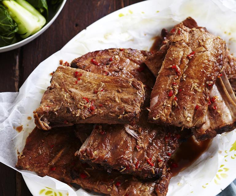 Slow-cooked char siu pork ribs