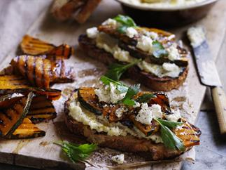pumpkin  bruschetta with almond   skordalia