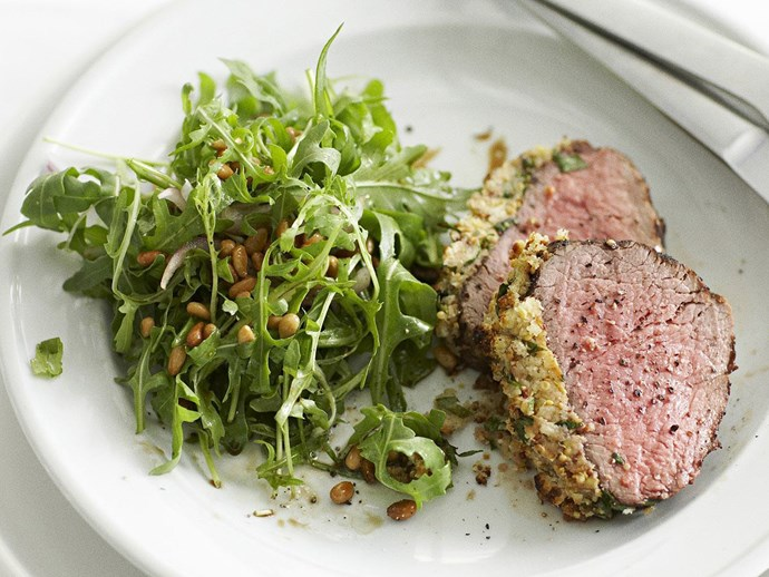 Mustard-crumbed beef fillet with rocket salad