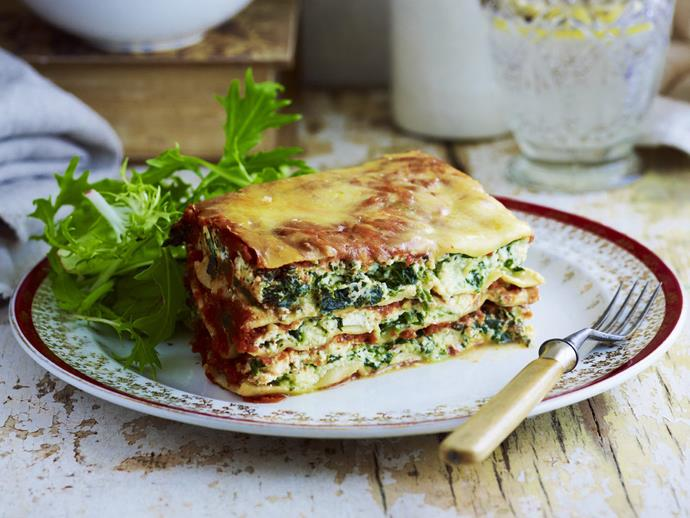 """**[Spinach and ricotta lasagne](https://www.womensweeklyfood.com.au/recipes/spinach-and-ricotta-lasagne-3424