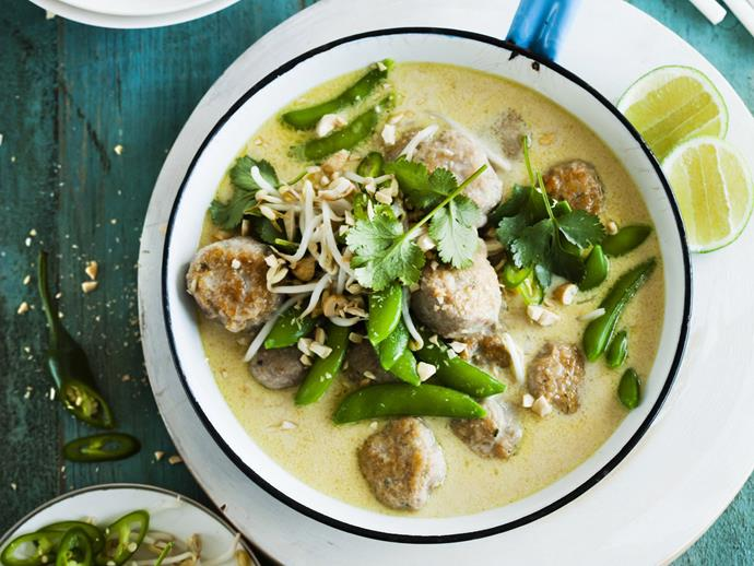 "**[Thai green curry with chicken balls](https://www.womensweeklyfood.com.au/recipes/thai-green-curry-with-chicken-balls-8555|target=""_blank"")**  Green curry is traditionally the hottest Thai curry. Prepared chicken meatballs are available from most major supermarkets, chicken shops and butcher shops; if you can't find them, roll chicken patties into balls."