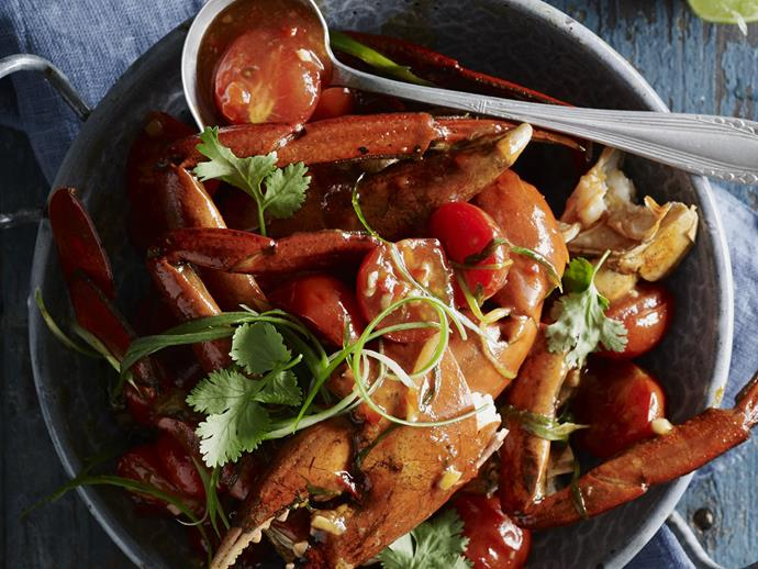 "Try this delicious [chilli crab recipe](http://www.foodtolove.com.au/recipes/chilli-crab-25639|target=""_blank"") at home - it's great for entertaining."
