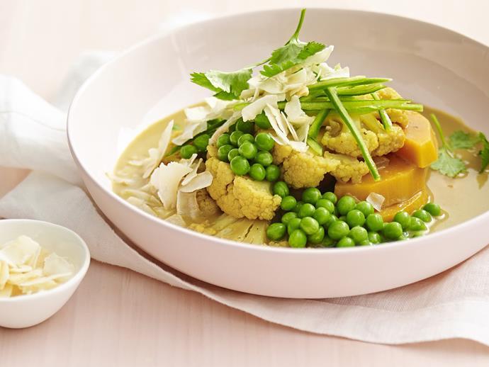 "**[Cauliflower, pumpkin and pea curry](https://www.womensweeklyfood.com.au/recipes/cauliflower-pumpkin-and-pea-curry-8592|target=""_blank"")**"