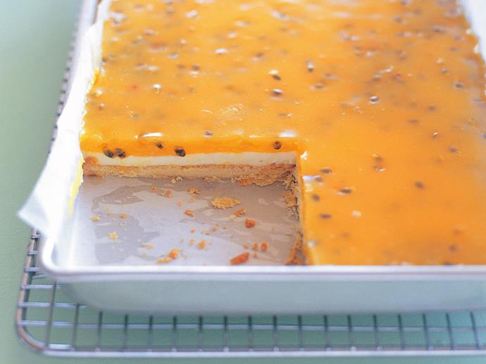 """**[Passionfruit custard slice](https://www.womensweeklyfood.com.au/recipes/passionfruit-custard-slice-15258