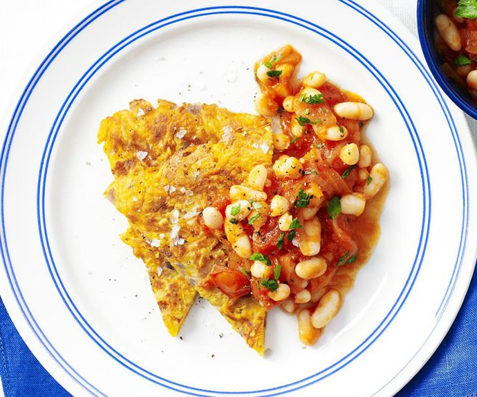 oven-baked rösti with breakfast beans