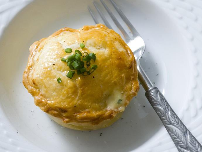 "**[Fish chowder pies](https://www.womensweeklyfood.com.au/recipes/fish-chowder-pies-8047|target=""_blank"")**  Melt-in-your-mouth, flaky butter pastry and a delicious seafood chowder filling make these individual fish pies a winner."