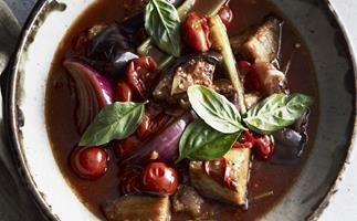 eggplant, chilli and tomato stew           with ricotta
