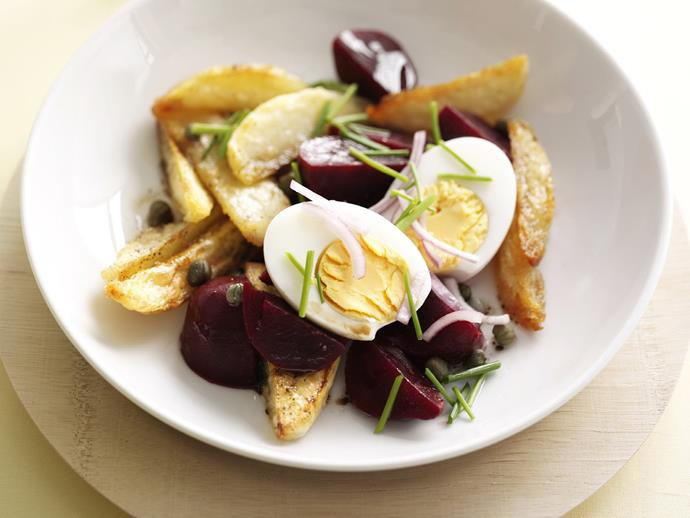 """A simple and interesting [warm beetroot, egg and potato salad](https://www.womensweeklyfood.com.au/recipes/warm-beetroot-egg-and-potato-salad-8056