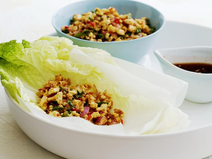 "[Larb tofu](https://www.womensweeklyfood.com.au/recipes/larb-tofu-8067|target=""_blank""), traditionally made with ground chicken, is a spicy Thai appetizer."