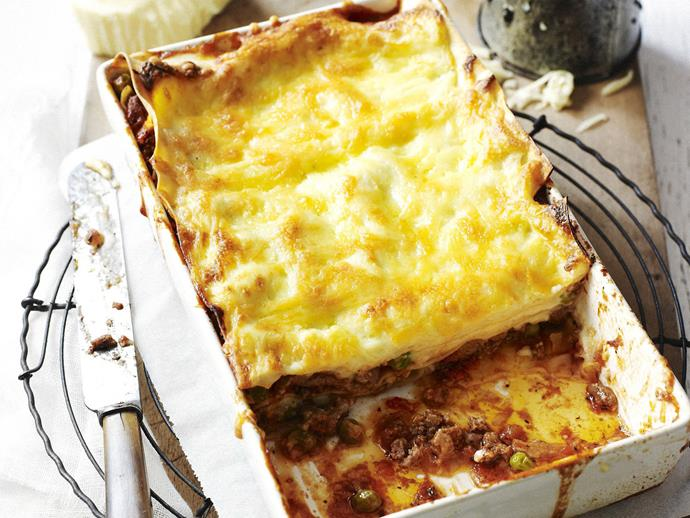 "Italian-style [tomato, beef and pea lasagne](https://www.womensweeklyfood.com.au/recipes/tomato-beef-and-pea-lasagne-8072|target=""_blank"")"