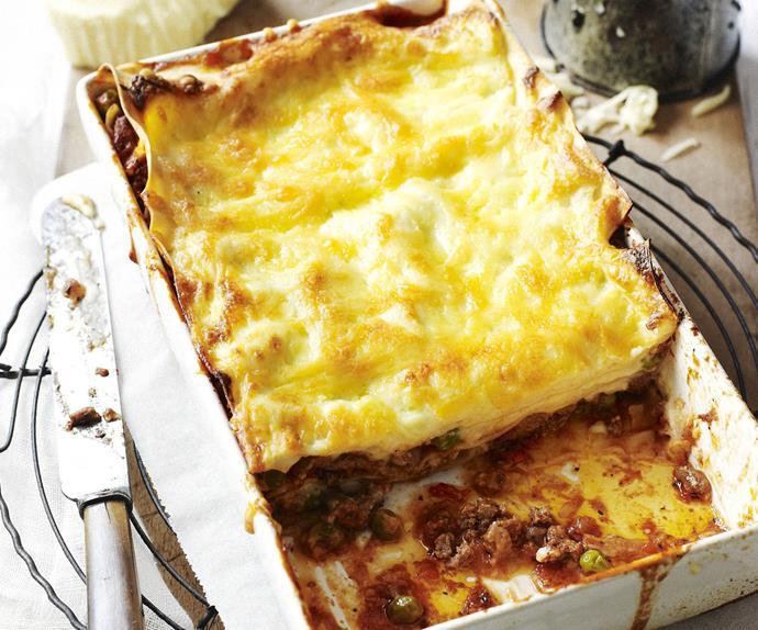 tomato, beef and pea lasagne