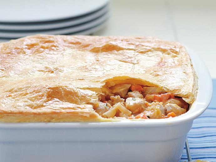 "**[Chicken pot pie](https://www.womensweeklyfood.com.au/recipes/chicken-pot-pie-6931|target=""_blank"")**"