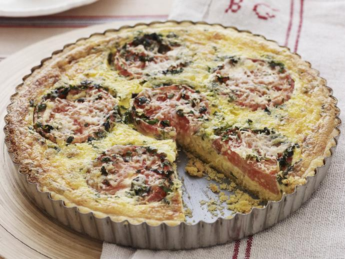 "**[Tomato and basil quiche](http://www.womensweeklyfood.com.au/recipes/tomato-and-basil-quiche-8082|target=""_blank""):** This one serves eight so there's enough for the whole crowd to have seconds (and trust us, they'll want them)."