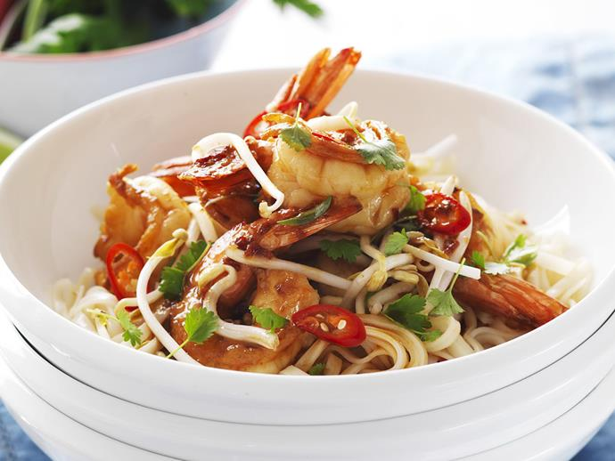 "A super fast and easy [prawn and noodle stir-fry](https://www.womensweeklyfood.com.au/recipes/prawn-and-noodle-stir-fry-3244|target=""_blank"") that is great for busy evenings."