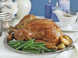 Slow-roasted seasoned turkey