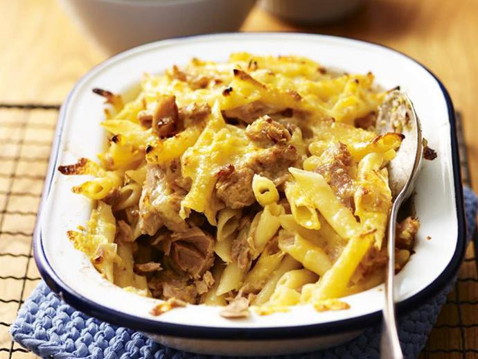 "Much like today, dinners as a kid tended to favour the ""bung it all in a dish and into the oven"" style. A delicious [cheesy pasta bake loaded with chunky tuna](https://www.womensweeklyfood.com.au/recipes/tuna-pasta-bake-8117