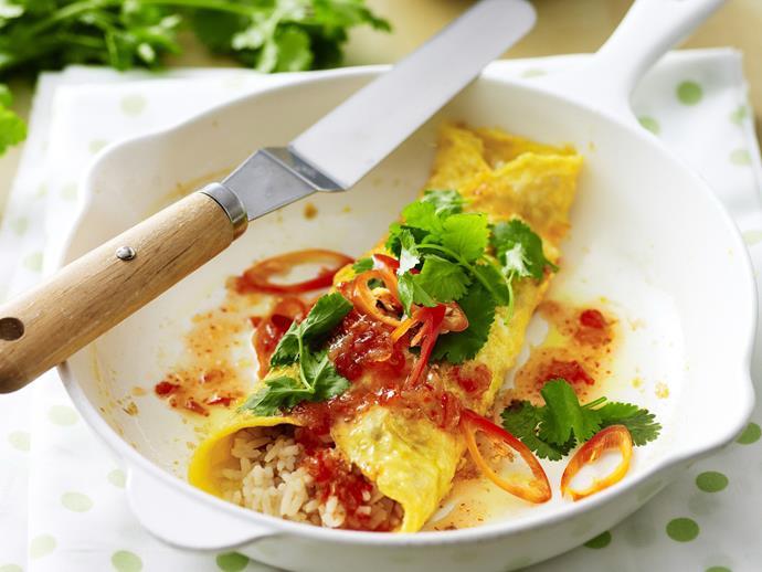 "**[Fried rice omelette](https://www.womensweeklyfood.com.au/recipes/fried-rice-omelette-8127|target=""_blank"")**"