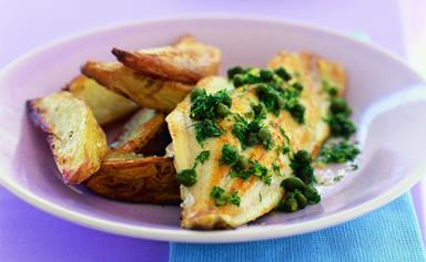 Fish and oven-roasted chips