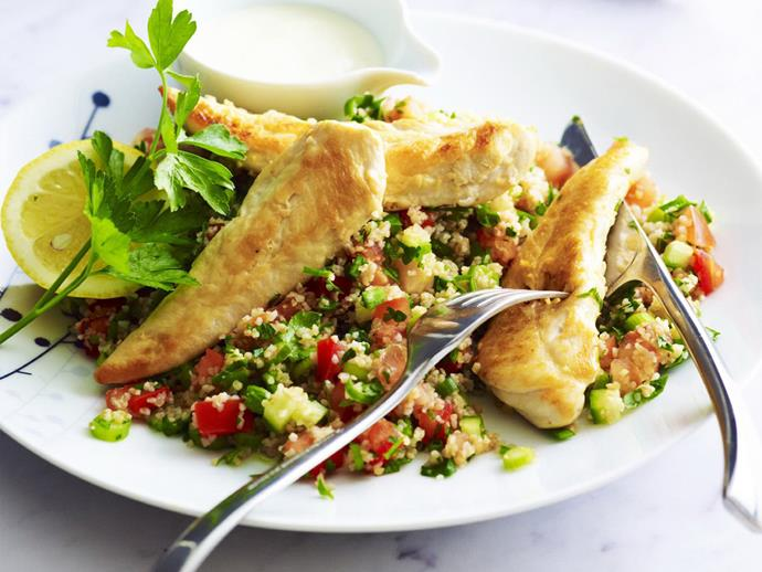 "**[Chicken tabbouleh](https://www.womensweeklyfood.com.au/recipes/chicken-tabbouleh-8146|target=""_blank"")**"